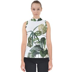 Botanical Illustration Palm Leaf Mock Neck Shell Top
