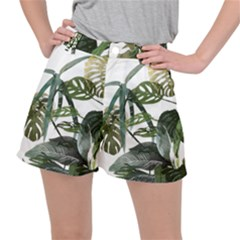 Botanical Illustration Palm Leaf Stretch Ripstop Shorts by Mariart