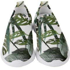 Botanical Illustration Palm Leaf Kids  Slip On Sneakers by Mariart