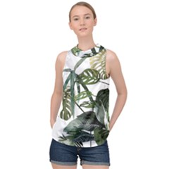 Botanical Illustration Palm Leaf High Neck Satin Top by Mariart