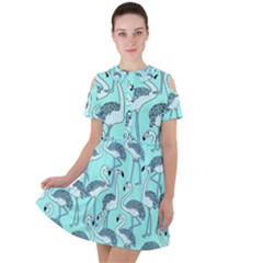 Bird Flemish Picture Short Sleeve Shoulder Cut Out Dress