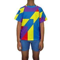 Colorful Red Yellow Blue Purple Kids  Short Sleeve Swimwear by Mariart