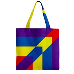 Colorful Red Yellow Blue Purple Zipper Grocery Tote Bag by Mariart