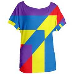 Colorful Red Yellow Blue Purple Women s Oversized Tee
