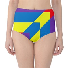 Colorful Red Yellow Blue Purple Classic High Waist Bikini Bottoms by Mariart