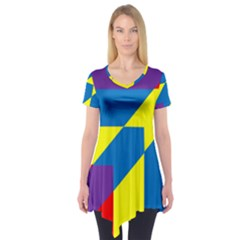 Colorful Red Yellow Blue Purple Short Sleeve Tunic  by Mariart