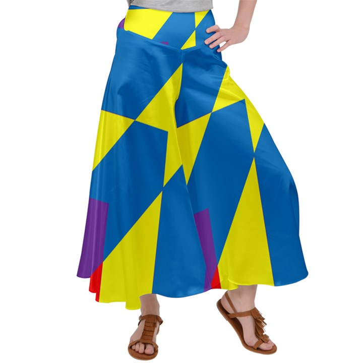 Colorful Red Yellow Blue Purple Satin Palazzo Pants