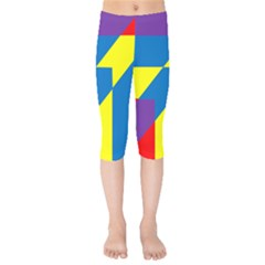 Colorful Red Yellow Blue Purple Kids  Capri Leggings  by Mariart