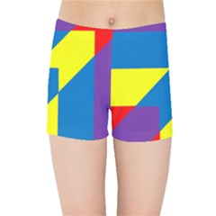 Colorful Red Yellow Blue Purple Kids  Sports Shorts by Mariart