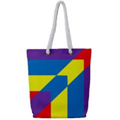 Colorful Red Yellow Blue Purple Full Print Rope Handle Tote (small) by Mariart