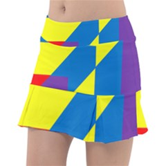 Colorful Red Yellow Blue Purple Tennis Skirt