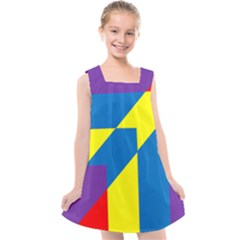 Colorful Red Yellow Blue Purple Kids  Cross Back Dress by Mariart