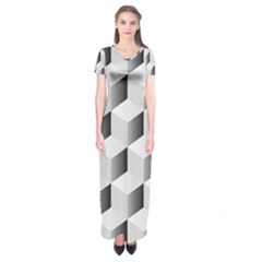 Cube Isometric Short Sleeve Maxi Dress by Mariart