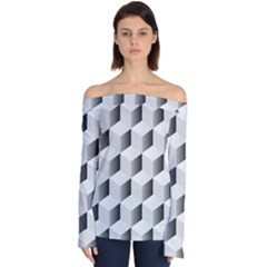 Cube Isometric Off Shoulder Long Sleeve Top by Mariart