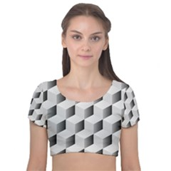 Cube Isometric Velvet Short Sleeve Crop Top  by Mariart
