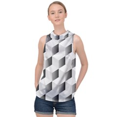 Cube Isometric High Neck Satin Top