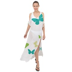Butterfly Maxi Chiffon Cover Up Dress by Mariart