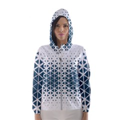 Business Blue Triangular Pattern Hooded Windbreaker (women) by Mariart