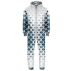 Business Blue Triangular Pattern Hooded Jumpsuit (men)  by Mariart