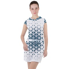 Business Blue Triangular Pattern Drawstring Hooded Dress