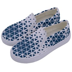 Business Blue Triangular Pattern Kids  Canvas Slip Ons by Mariart