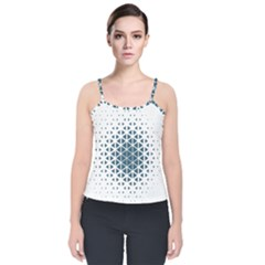 Business Blue Triangular Pattern Velvet Spaghetti Strap Top