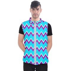 Chevron Pattern Background Blue Men s Puffer Vest