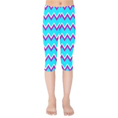 Chevron Pattern Background Blue Kids  Capri Leggings  by Jojostore