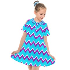 Chevron Pattern Background Blue Kids  Short Sleeve Shirt Dress