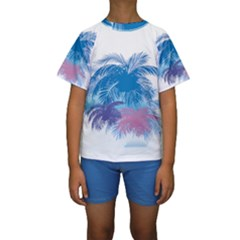 Coconut Tree Background Kids  Short Sleeve Swimwear