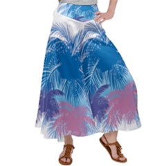 Coconut Tree Background Satin Palazzo Pants by Jojostore