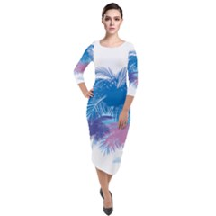Coconut Tree Background Quarter Sleeve Midi Velour Bodycon Dress by Jojostore
