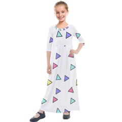 Color Triangle Wallpaper Kids  Quarter Sleeve Maxi Dress by Jojostore
