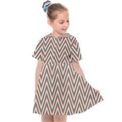 Chevron Retro Pattern Vintage Kids  Sailor Dress