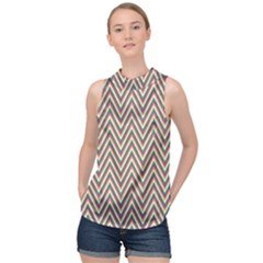 Chevron Retro Pattern Vintage High Neck Satin Top