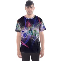 Brush Particles Music Clef Wave Men s Sports Mesh Tee