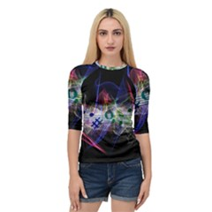 Brush Particles Music Clef Wave Quarter Sleeve Raglan Tee