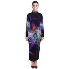 Brush Particles Music Clef Wave Turtleneck Maxi Dress by Jojostore