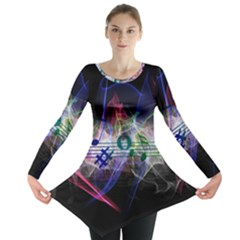 Brush Particles Music Clef Wave Long Sleeve Tunic