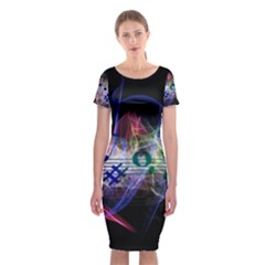Brush Particles Music Clef Wave Classic Short Sleeve Midi Dress by Jojostore