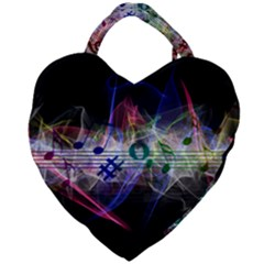 Brush Particles Music Clef Wave Giant Heart Shaped Tote by Jojostore