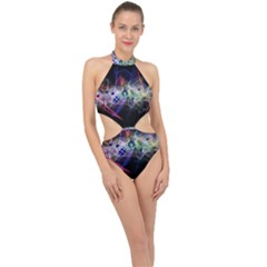 Brush Particles Music Clef Wave Halter Side Cut Swimsuit