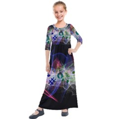 Brush Particles Music Clef Wave Kids  Quarter Sleeve Maxi Dress by Jojostore
