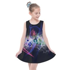 Brush Particles Music Clef Wave Kids  Summer Dress by Jojostore