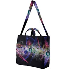 Brush Particles Music Clef Wave Square Shoulder Tote Bag