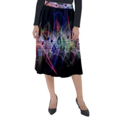 Brush Particles Music Clef Wave Classic Velour Midi Skirt