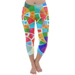 Circle Background Capri Winter Leggings