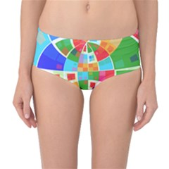 Circle Background Mid Waist Bikini Bottoms by AnjaniArt