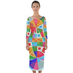 Circle Background Quarter Sleeve Midi Bodycon Dress by AnjaniArt