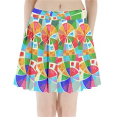Circle Background Pleated Mini Skirt by AnjaniArt